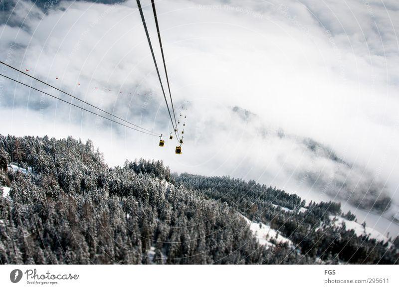 Gondelfahrt ins Nirvana Wolken Winter Schönes Wetter Eis Frost Schnee Berge u. Gebirge Seilbahn Sport ästhetisch einzigartig Talfahrt Wolkendecke Nirwana
