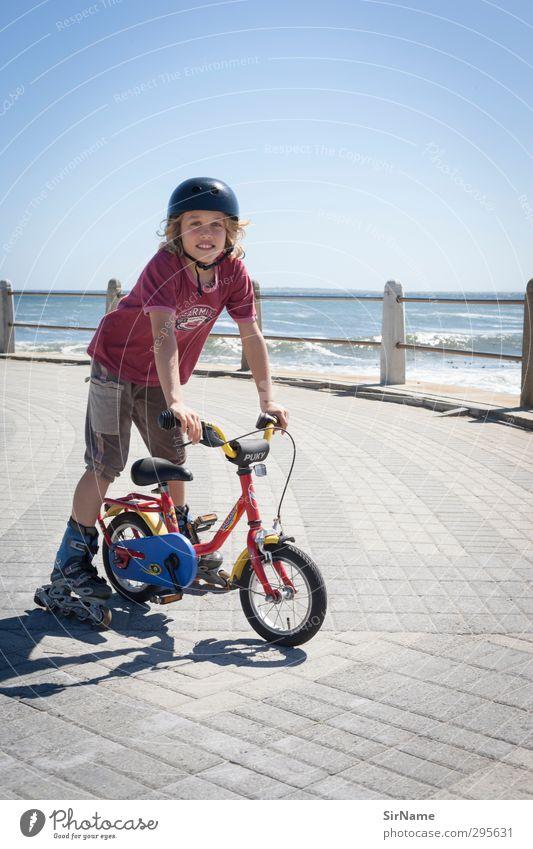 222 [sea wheels] Mensch Kind Jugendliche Ferien & Urlaub & Reisen Meer Sport Spielen Junge Wege & Pfade Küste Kindheit Fahrrad Freizeit & Hobby Lächeln Platz