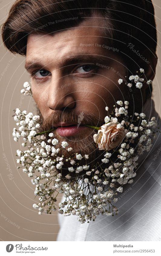 Mensch Mann weiß Blume Erotik Gesicht Lifestyle Erwachsene Frühling lustig Stil Mode Design Wachstum elegant Kreativität