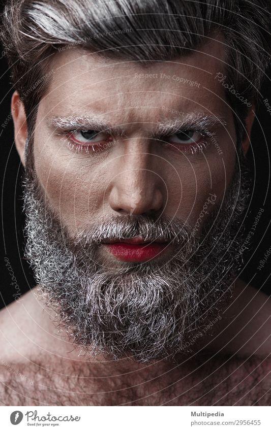Glamouröser Mann mit roten Lippen und Zunge Lifestyle elegant Stil Design Gesicht Mensch Erwachsene Mode Vollbart Coolness Erotik trendy lustig weiß Kreativität