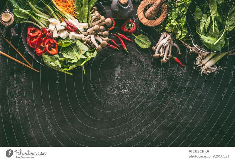 Asiatische Lebensmittel Zutaten fürs Kochen, Hintergrund Ernährung Vegetarische Ernährung Asiatische Küche Geschirr kaufen Design Gesunde Ernährung Tisch