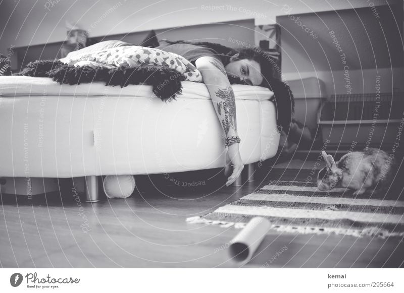Lazing on a sunday afternoon Wohlgefühl Zufriedenheit ruhig Freizeit & Hobby Häusliches Leben Wohnung Bett Schlafzimmer Mensch feminin Frau Erwachsene Kopf Arme