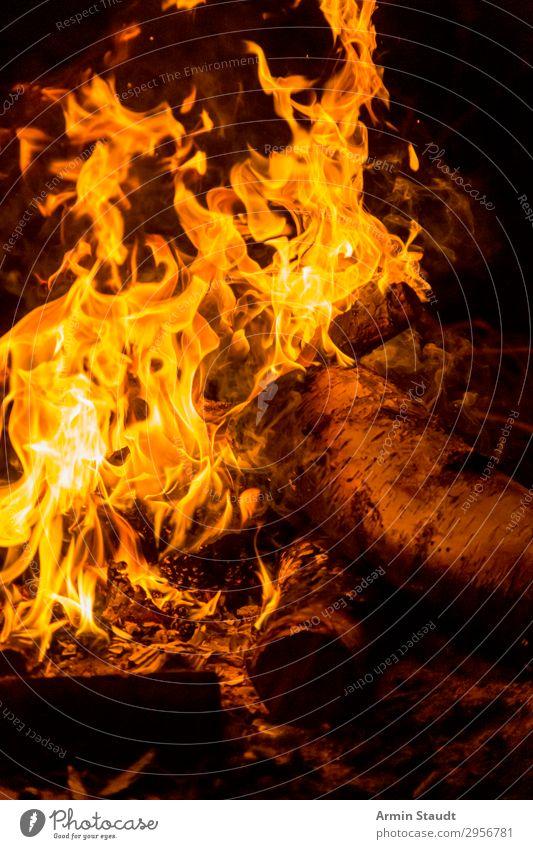 Feuer II Lifestyle Leben harmonisch Wohlgefühl Freizeit & Hobby Abenteuer Natur Urelemente Wärme Holz bedrohlich heiß orange schwarz gefährlich ruhig