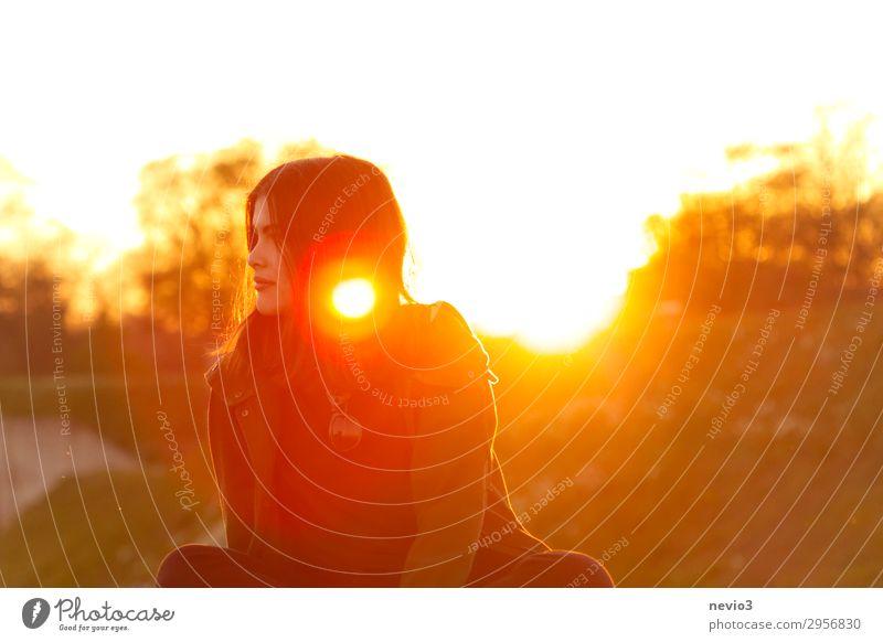 Junge Frau im Licht der untergehenden Sonne Mensch feminin Jugendliche Leben Gesicht 1 13-18 Jahre 18-30 Jahre Erwachsene Freundlichkeit schön gelb Glück
