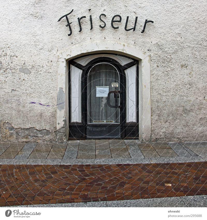 Ponyhof schön Fußgängerzone Haus Mauer Wand Fassade Tür Schriftzeichen alt Typographie Friseur Friseursalon Farbfoto Gedeckte Farben Außenaufnahme