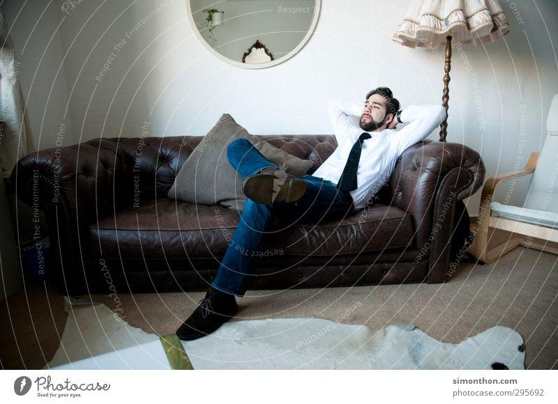 Pause Mensch Jugendliche Ferien & Urlaub & Reisen Erholung Erwachsene Innenarchitektur 18-30 Jahre Lampe Zeit träumen Business maskulin Zufriedenheit Erfolg Häusliches Leben lernen
