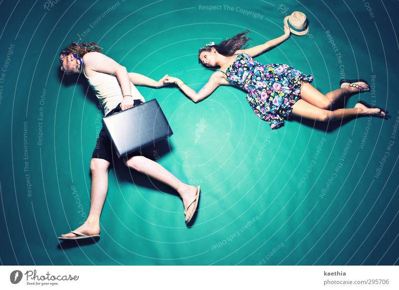 ab in den urlaub! Mensch Ferien & Urlaub & Reisen Sommer Meer Erholung Freude Ferne Leben feminin Spielen Freiheit Glück fliegen Paar Freizeit & Hobby maskulin