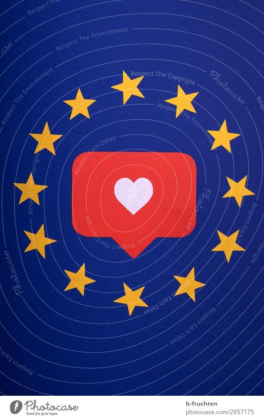I like europe. Wirtschaft Erfolg sprechen Papier Zeichen Herz Netzwerk Liebe frei Glück Unendlichkeit blau gelb rot Sicherheit Schutz Menschlichkeit Solidarität