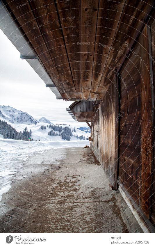 auf der Alp Umwelt Natur Winter Schnee Alpen Berge u. Gebirge einfach natürlich alpin Stall Farbfoto Außenaufnahme Menschenleer Tag Weitwinkel