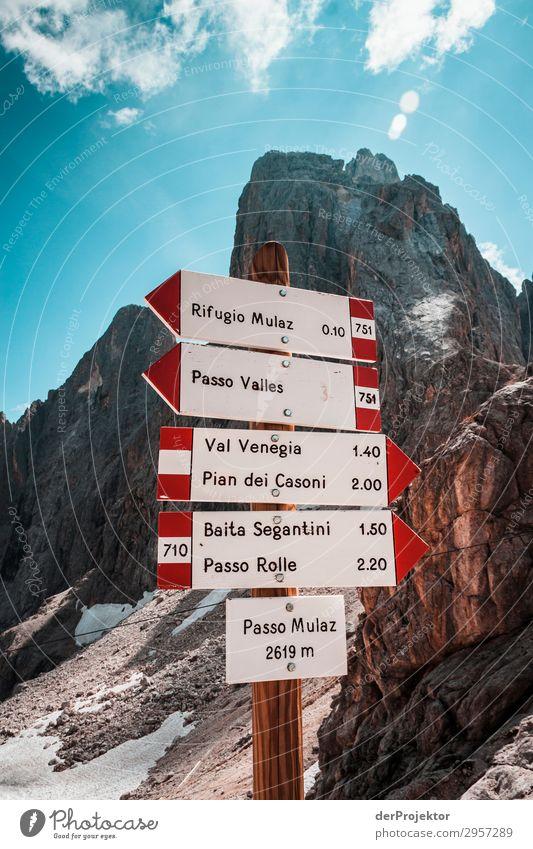 Hinweisschilder am Passo Mulaz II Abenteuer wandern Schönes Wetter schlechtes Wetter Nebel Gipfel Sommer Landschaft Natur Umwelt Ferne Freiheit Berge u. Gebirge