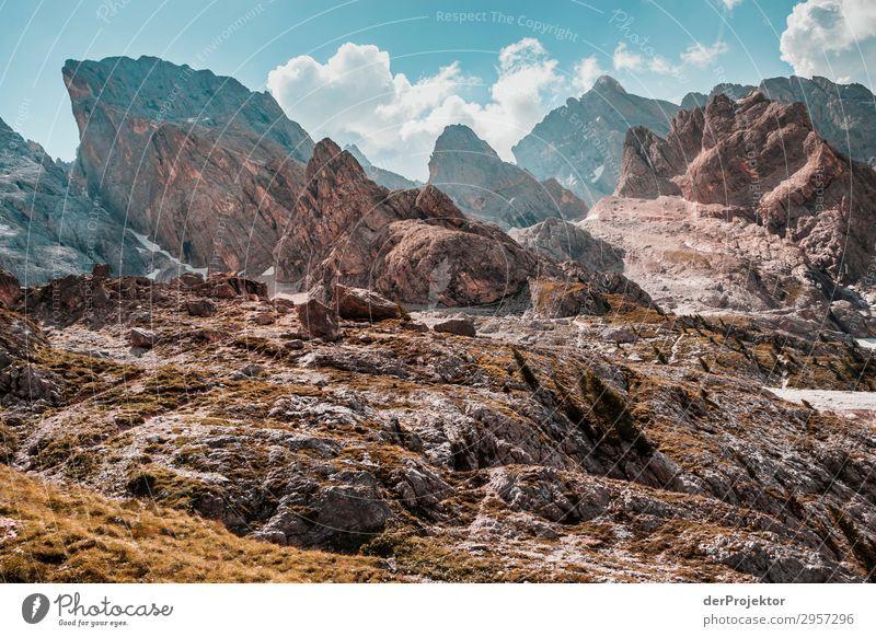Dolomiten mit Felsen im Vordergrund III Abenteuer wandern Schönes Wetter schlechtes Wetter Nebel Gipfel Sommer Landschaft Natur Umwelt Ferne Freiheit
