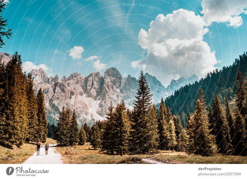 Dolomiten mit Wanderern im Vordergrund Abenteuer wandern Schönes Wetter schlechtes Wetter Nebel Gipfel Sommer Landschaft Natur Umwelt Ferne Freiheit