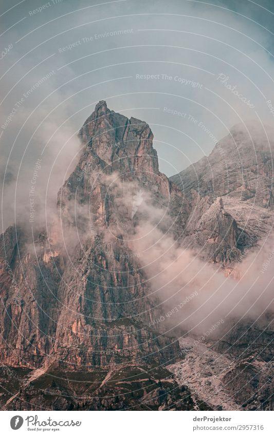 Dolomiten in den Wolken IV Abenteuer wandern Schönes Wetter schlechtes Wetter Nebel Gipfel Sommer Landschaft Natur Umwelt Ferne Freiheit Berge u. Gebirge