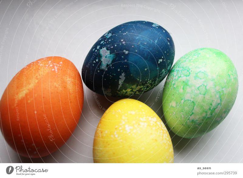 vier bunte Eier blau schön grün Farbe gelb Farbstoff Frühling orange Design Kindheit Dekoration & Verzierung ästhetisch Kreativität Kindheitserinnerung