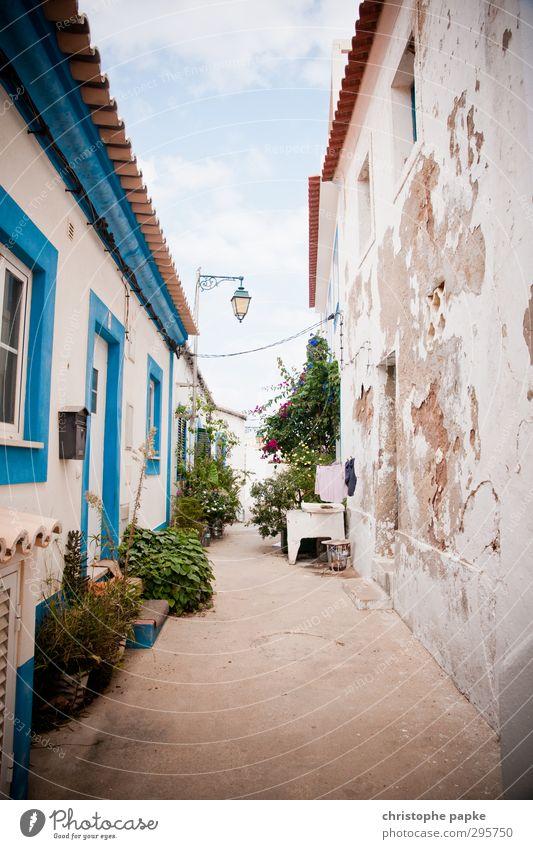 Gasse Ferien & Urlaub & Reisen Sommer Sommerurlaub Kleinstadt Menschenleer Haus Mauer Wand Fassade alt Zukunftsangst Armut Portugal baufällig Wirtschaftskrise
