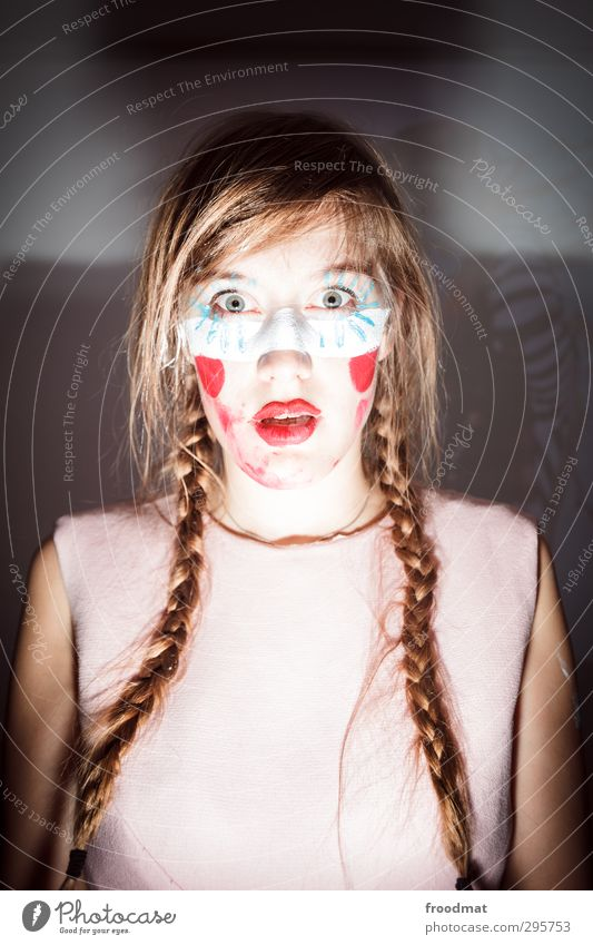 erstaunlich Stil Kosmetik Schminke Lippenstift Nachtleben Entertainment Party Feste & Feiern Karneval Mensch feminin Junge Frau Jugendliche Erwachsene 1 blond