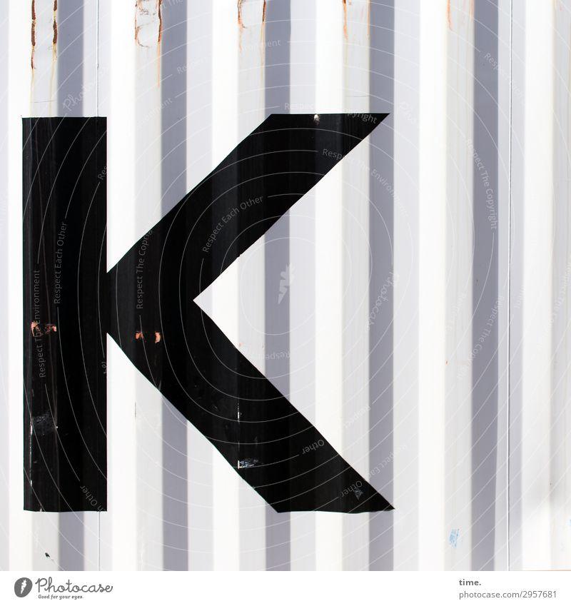 |< Container Rost Metall Stahl Schriftzeichen Linie Streifen eckig einfach Ausdauer standhaft Ordnungsliebe Neugier Überraschung Design Genauigkeit Inspiration