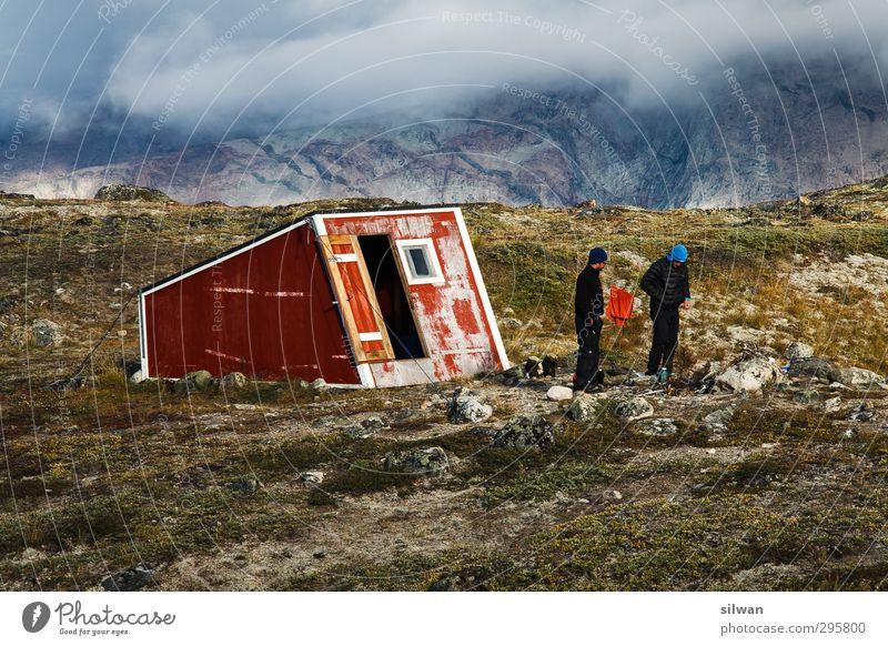 Green(hut #II)land 2 Mensch Natur Herbst schlechtes Wetter Nebel Moos Felsen Gletscher Hütte Gebäude Beratung sprechen Erholung stehen exotisch Unendlichkeit