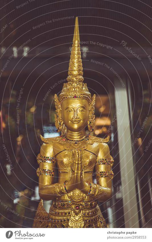 Goldene Buddha Statue Skulptur Thailand Metall exotisch glänzend historisch achtsam Vorsicht Gelassenheit Religion & Glaube Buddhismus Gebet Asien Farbfoto