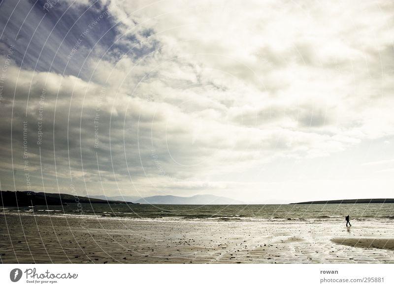 Strandspazierer Mensch Himmel Natur Wasser Meer Einsamkeit Wolken Erholung kalt Küste Wetter Wellen Wind wild Zufriedenheit