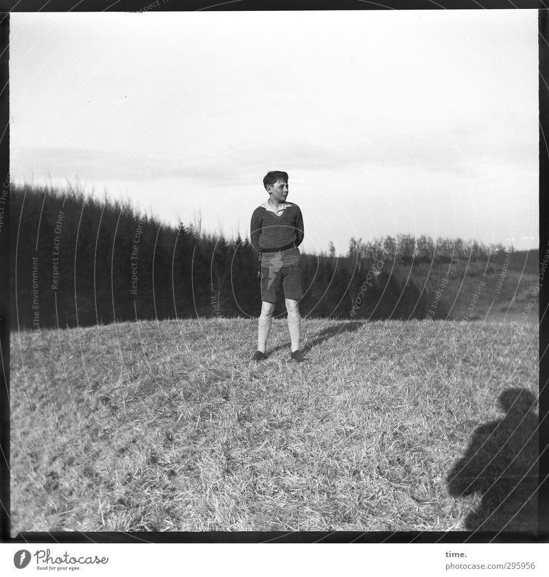 Jugendfoto   Generation Zeltlager Mensch Jugendliche ruhig Erholung Junger Mann Berge u. Gebirge Wiese Zeit Horizont maskulin Zufriedenheit authentisch Ordnung