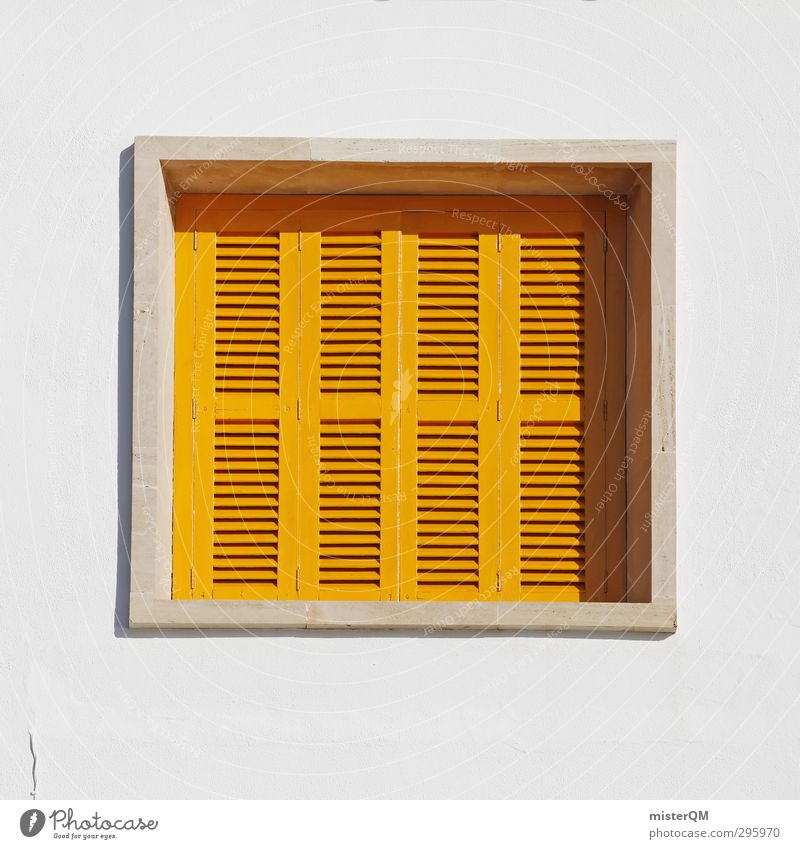 mediterranean square. Kunst ästhetisch Ferienhaus Quadrat gelb weiß Ferien & Urlaub & Reisen Urlaubsfoto Urlaubsgrüße Autofenster Fensterladen Fensterbrett