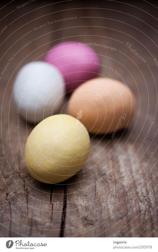 Nachlese Lebensmittel Ei Osterei Ernährung Frühstück Dekoration & Verzierung Ostern Holz rund blau braun gelb orange rosa Stimmung mehrfarbig Farbe Oval