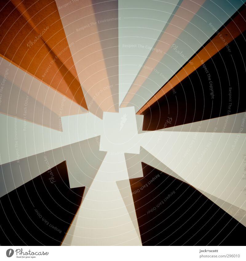 Quadrat im Quadrat Turm Stahl Rost eckig Symmetrie Irritation Fluchtpunkt Doppelbelichtung stilistisch Schemata Rahmen Sinnestäuschung Reaktionen u. Effekte