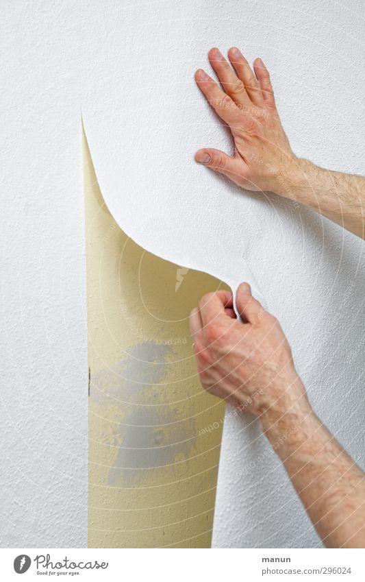 Heimwerker Mensch Hand Wand Mauer Raum Arme Häusliches Leben neu Tapete Handwerker Arbeitsplatz Renovieren Genauigkeit heimwerken professionell