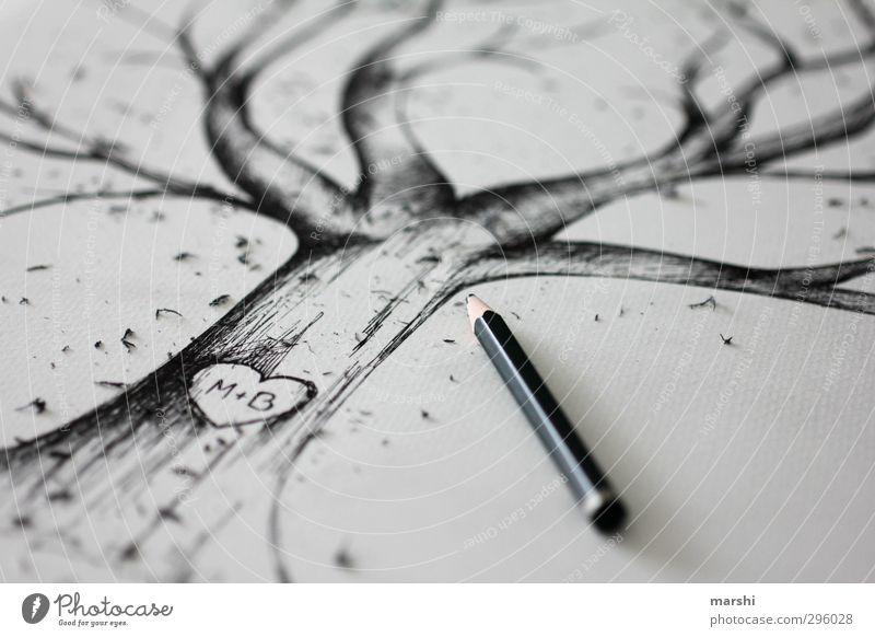 verewigt Natur Baum schwarz Liebe Gefühle Kunst Herz Hochzeit Baumstamm Baumkrone Liebespaar Künstler Zeichnung Maler Bleistift