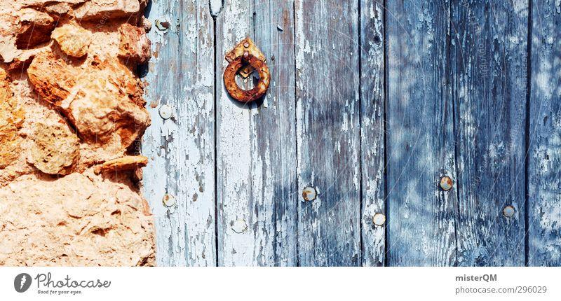 stronghold. blau alt rot Haus Holz Mauer Tür dreckig ästhetisch historisch Hütte Panorama (Bildformat) Rost Tor schäbig Lack
