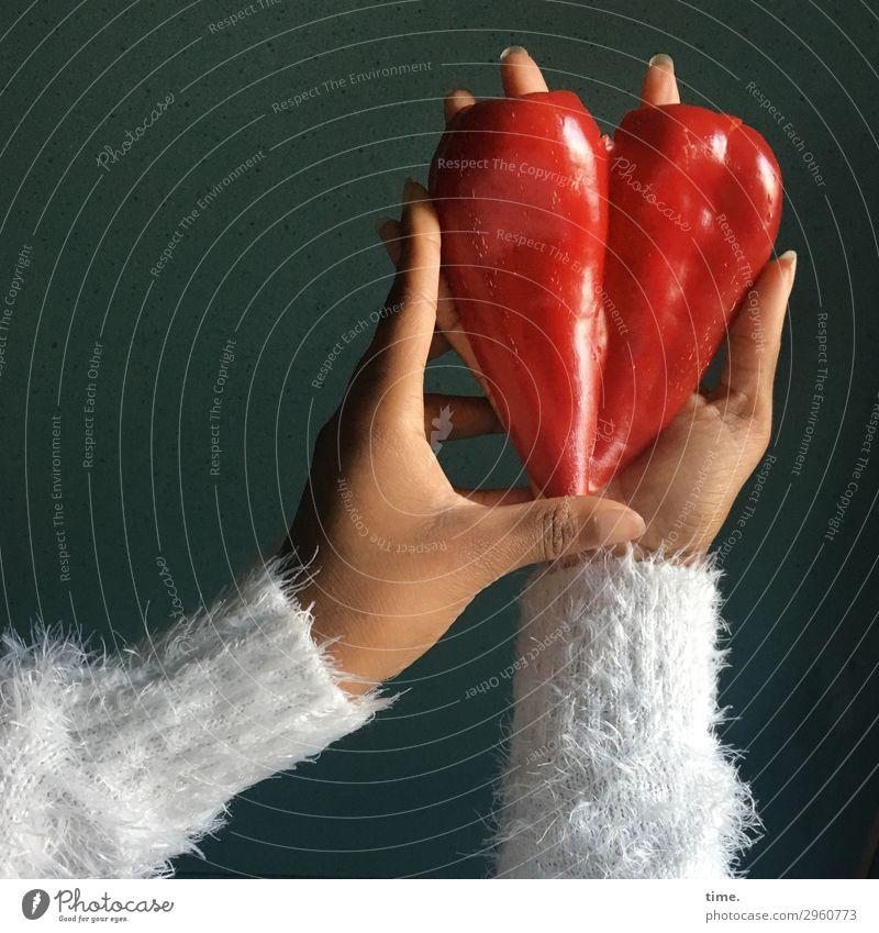 heart of nature | Fingerspitzengefühl Lebensmittel Gemüse Paprika Ernährung Vegetarische Ernährung Fingerfood feminin Arme Hand 1 Mensch Nutzpflanze Pullover