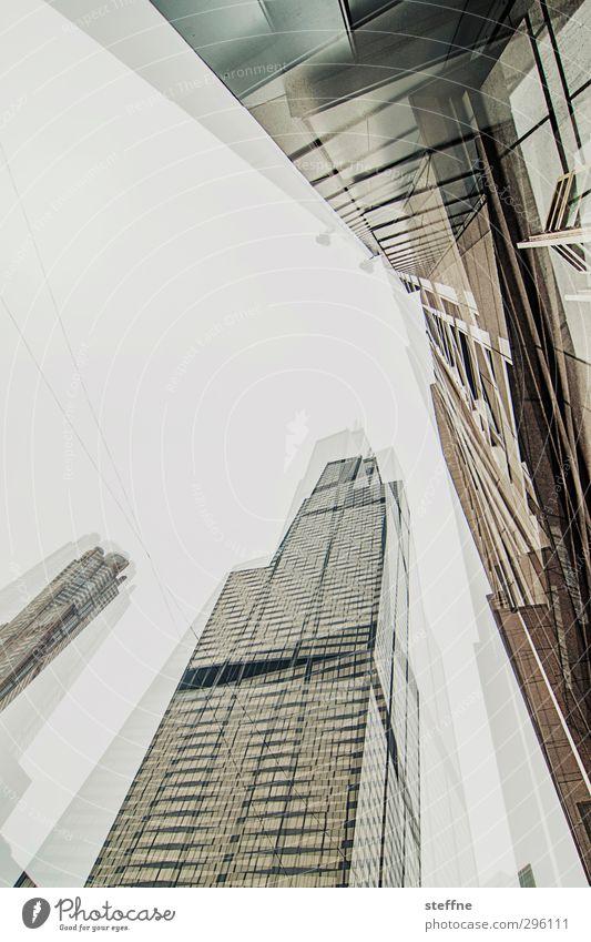 broken glass | cubism Chicago USA Stadt Stadtzentrum Skyline Hochhaus Fassade Doppelbelichtung Kubismus Gedeckte Farben Weitwinkel