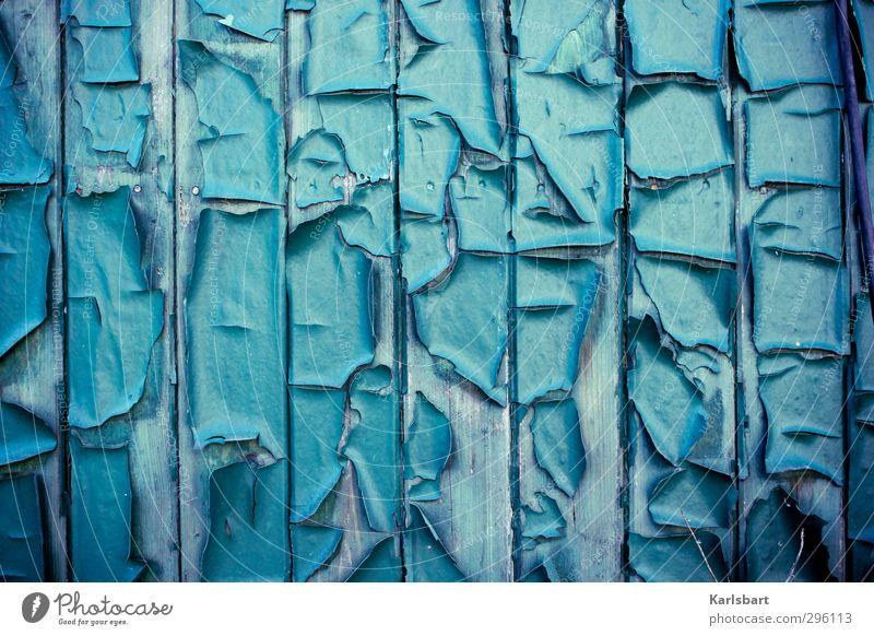 LACK AB! Häusliches Leben Renovieren Raum Wand Baustelle Ruhestand Stadtrand Haus Hütte Bauwerk Gebäude Mauer Fassade Linie Streifen alt kaputt trashig blau
