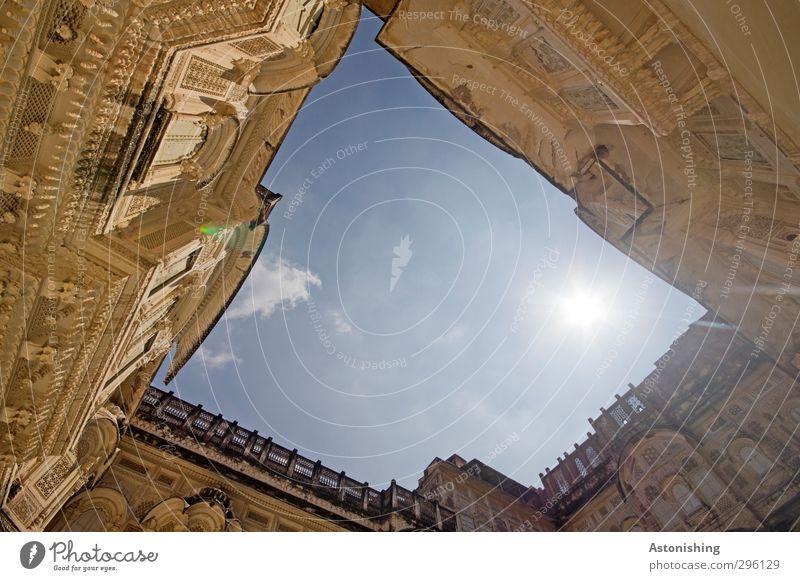 Hof 2 Himmel Wolken Wetter Schönes Wetter Wärme Jodphur Rajasthan Indien Asien Stadt Haus Palast Burg oder Schloss Bauwerk Gebäude Architektur Mauer Wand