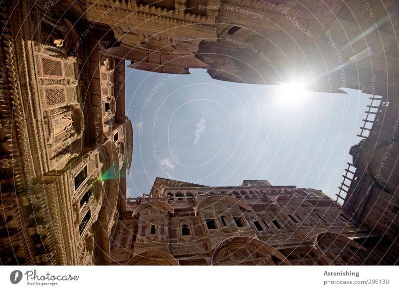 Hof 3 Himmel Wolken Sonne Sonnenlicht Wetter Schönes Wetter Wärme Jodphur Rajasthan Indien Asien Stadt Menschenleer Haus Palast Burg oder Schloss Platz Bauwerk