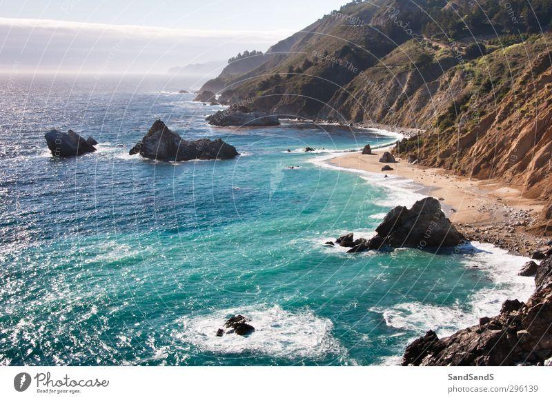 Natur blau Ferien & Urlaub & Reisen schön Meer Landschaft Strand Küste Sand Felsen Park Tourismus USA Wasserfall Klippe Kalifornien