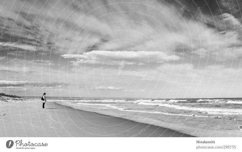 Weite Mensch Kind Himmel Jugendliche Meer Freude Wolken Strand Junge Frau Erwachsene kalt feminin Frühling 18-30 Jahre Küste Denken