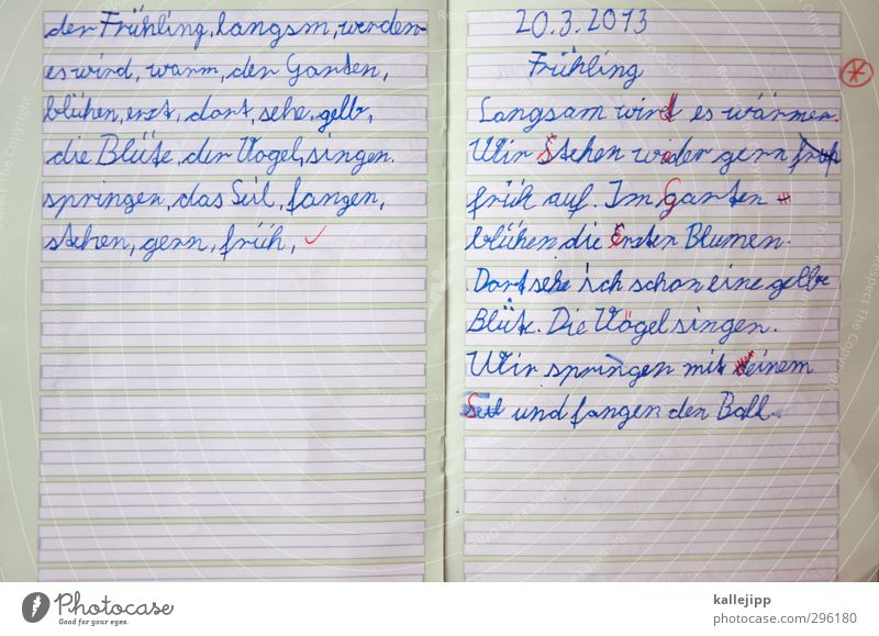 fehlanzeige Kind Frühling Schule Linie Schriftzeichen lernen Papier Bildung schreiben Prüfung & Examen Termin & Datum Kindererziehung Lehrer Fehler Tinte