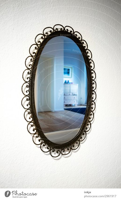 Spiegelsaal Lifestyle Stil Häusliches Leben Wohnung Innenarchitektur Möbel Raum Flur alt Ferne Oval antik Pflanze modern Reflexion & Spiegelung Spiegelbild