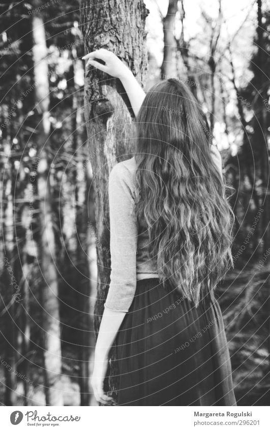 haare Mensch Natur Wald Umwelt feminin Haare & Frisuren stehen Sträucher Kleid Rock Pullover
