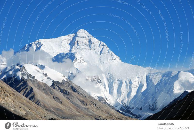 Himmel Natur Ferien & Urlaub & Reisen blau weiß Landschaft Berge u. Gebirge Gesicht Schnee Tourismus Aussicht einzigartig Gipfel China abgelegen Höhe