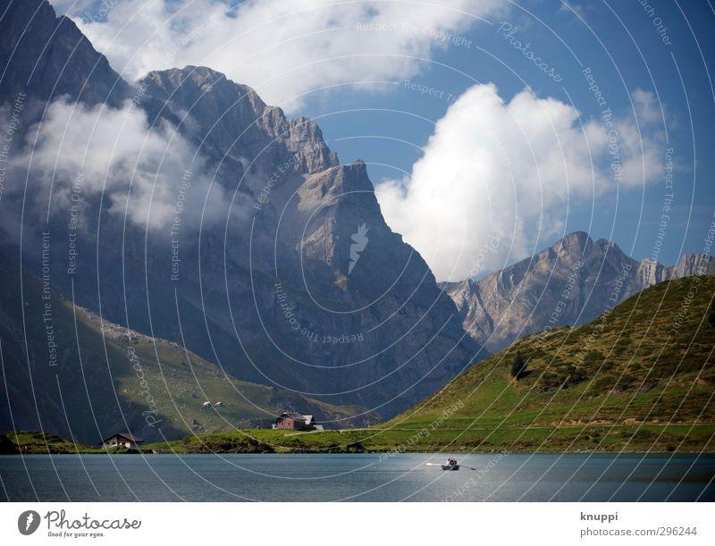 Dimensionen Umwelt Natur Landschaft Pflanze Luft Wasser Himmel Wolken Sonne Sonnenlicht Sommer Schönes Wetter Gras Felsen Alpen Berge u. Gebirge Titlis Gipfel