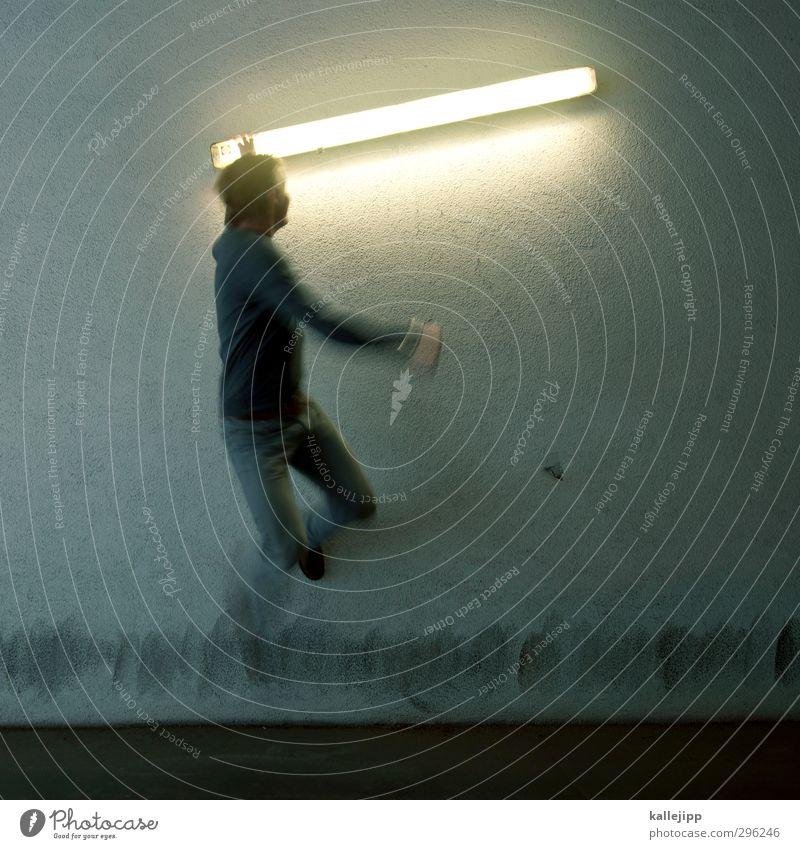 kurzschlussreaktion Mensch maskulin Mann Erwachsene Körper 1 springen kämpfen Laserschwert yedi Kampfsport Defensive Angriff Krieg schwertkampf Ritter