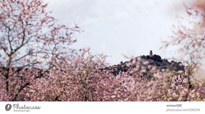 Mandelblüte. Ferne Frühling Kunst rosa ästhetisch Turm fantastisch Blühend Kitsch Blütenknospen Mallorca Frühlingstag Frühlingsfarbe Mandelbaum