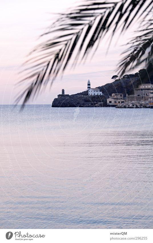 Hello again. Ferien & Urlaub & Reisen Meer ruhig Küste Kunst rosa Idylle ästhetisch Romantik Palme Leuchtturm verträumt abgelegen Mallorca friedlich Meerwasser