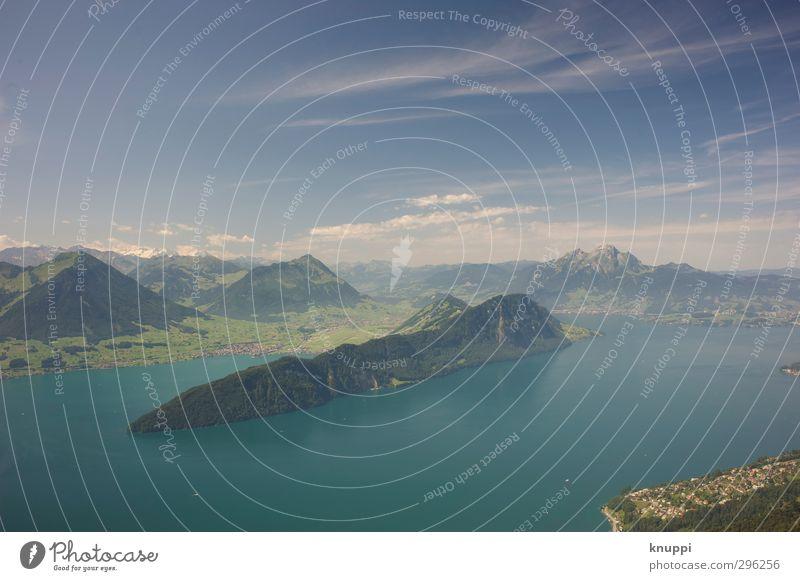Idylle Nr 3 Himmel Natur blau grün schön Wasser weiß Sommer Sonne Landschaft Wolken Umwelt Berge u. Gebirge Wärme oben See