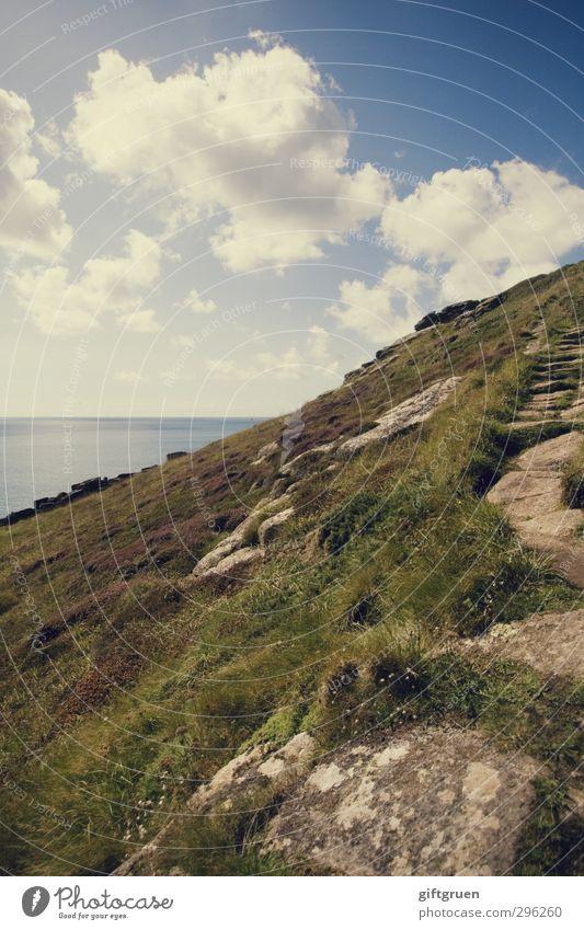 klettertour Himmel Natur Wasser Sommer Pflanze Meer Landschaft Wolken Umwelt Berge u. Gebirge Gras Wege & Pfade Küste Stein Horizont Felsen