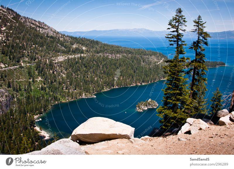Lake Tahoe schön ruhig Ferien & Urlaub & Reisen Berge u. Gebirge Natur Baum Park Felsen Küste See blau Kalifornien USA amerika Bucht Smaragd Nevada Kiefer ruhen