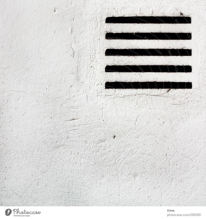 Maurer-Zen Mauer Wand Lüftungsschlitz Lüftungsschacht Schlitz ästhetisch eckig einfach fest trocken schwarz weiß Design Gelassenheit Zufriedenheit Inspiration